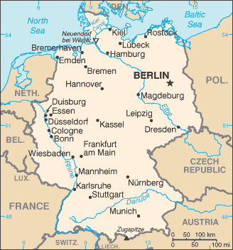 A Map Of Germany With Cities ...